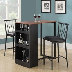 3 Piece Dining Set Chair Desk Home Table Bar Cafe Storage Nook Kitchen Furniture Pub Table And Chairs, Table Bar, Pub Table Sets, Table And Chair Sets, Pub Tables, Table Stools, Nook Table, Bistro Chairs, Dining Tables