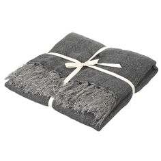 "Charcoal Albany Linen Throw: Gorgeous Albany woven linen throw. Great weight and lovely ""floppy"" feel."