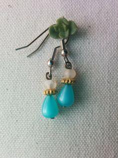 New to AgAuCu on Etsy: Desert Dewdrop Earrings - Desert Born - Small white gold aqua sky blue hypoallergenic earrings (9.00 USD)