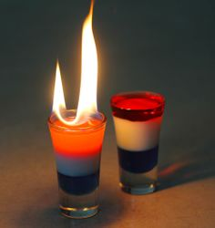 blue and red layered drinks | Patriotic Colored Liquid Layers - Red, White & Blue Density Column Summer Drinks, Fun Drinks, Alcoholic Drinks, Beverages, Colorful Drinks, Cocktail Shots, Cocktails Bar, Layered Drinks, Mixed Drinks