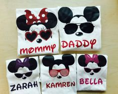 Family Mickey and Minnie shirts by TheMonogrammedMouse on Etsy