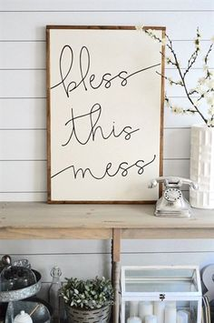 Magnificent BLESS THIS MESS painted wood sign, S,M and L sizes available | Wall decor (Rustic Chic, Modern Farmhouse, fixer upper) Free Shipping  The post  BLESS THIS MESS painted wood sign, S,M and L sizes available | Wall decor (Rusti…  appeared first on  99 Decor .
