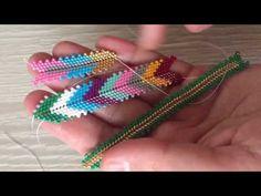 Making Fishbone Model With Miyuki Beads (Bracelet, Earring, Ring, Necklace) Beading Tutorials, Beading Patterns, Diy Jewelry, Beaded Jewelry, Beaded Earrings, Beaded Bracelets, Gold Wedding Crowns, Peyote Stitch, Beads