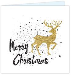 Kerstkaart met stoere handlettering. Met rendier in een goud glitter gekleurde print (look), sterretjes en verfspetters. Gratis verzending!