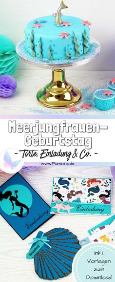 Mermaids birthday- Meerjungfrauen Geburtstag A mermaid birthday is great for children … - Diy Birthday Invitations, Mermaid Invitations, Birthday Tags, Carton Invitation, Invitation Cards, Birthday Celebration, Birthday Party Themes, Birthday Ideas, Mermaid Cakes