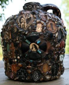 Memory Jug, Julie Harrington - also called forget-me-not jug, memory vessel, mourning jug, spirit jar, ugly jug, whatnot jar, and whimsy jar.