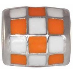 "Teagan Collegiate Collection Bead: University of Tennessee Checkerboard Bead  925 Silver & Enamel.  This is a ""Teagan"" bead and it is compatible with Pandora, Biagi, Zable, Brighton, Troll and many other European style bracelets. As with any Teagan Bead, it is a high quality nice weight bead."