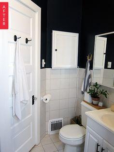 Foto: Apartment Therapy #banheiro #brancoepreto #portabranca