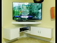 Endearing Corner Tv Mount Ideas For Your Interior Decor: corner tv stand with mount full motion tv mount living room with fireplace and corner wall mount tv decorating ideas Corner Tv Shelves, Corner Tv Unit, Tv Shelf, Corner Wall, Corner Space, Corner Tv Cabinets, Media Shelf, Living Pequeños, Living Room Tv Unit