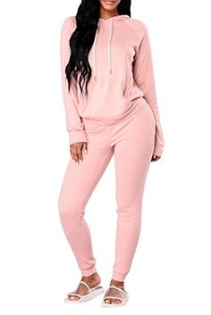 49e35959dae Women s Active Top And Bottom Sets - Fixmatti Women Hooded Front Pocket  Sweater Sweatpants Sport Tracksuit Jumpsuit at Women s Clothing store