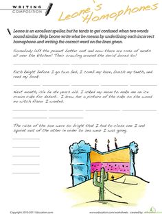 Get your child some homophones practice with the help of this worksheet and his new friend, Leone. Can your child come up with the correct homophones? He'll get great writing and spelling practice as he corrects each silly sentence. 2nd Grade Worksheets, Reading Worksheets, Fun Worksheets, Reading Lessons, Writing Lessons, Writing Skills, Spelling For Kids, Silly Sentences, Writing Games