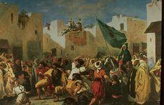 """Delacroix Eugène (Charenton-Saint-Maurice 1798 - Paris 1863) peintre français.""""LES CONVULSIONNAIRES DE TANGER"""".1856-1857. 46,7x56,4 cm. Huile sur toile. Toronto, Art Gallery of Ontario."""