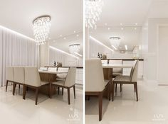 Sala de Jantar de apartamento com iluminação e móveis de marcenaria e mesa de jantar