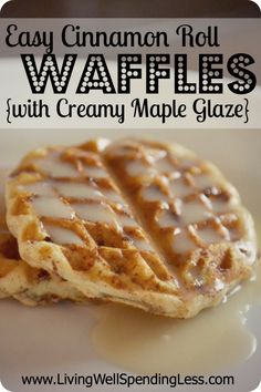 Easy Cinnamon Roll Waffles {with Creamy Maple Glaze}--YUM!  The BEST Saturday morning breakfast ever!  Super easy to make with refrigerated cinnamon rolls and SOOOO good! #breakfast #recipe #waffles
