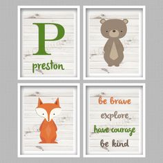Forest Animal Nursery Art Digital Prints  Set by PerfectlyMatched