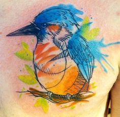 Abstract kingfisher tattoo - Watercolor, Bird, Kingfisher, Blue