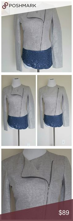 """Rachel Roy Gray Metallic Moto Style Jacket 4 Beautiful, stylish moto jacket by RACHEL Rachel Roy, size 4. Grey, silver colored with glitter accents for a sparkly look. Approx. 18"""" length from shoulder to bottom hemline. Material: 53% cotton, 28% linen, 19% metallic. Excellent condition, no flaws. RACHEL Rachel Roy Jackets & Coats"""
