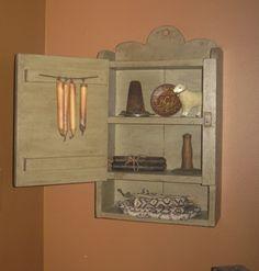 Inside View of Cupboard-cupboard, linen keep, wood decor, primitive, handmade, decor, primitive decor