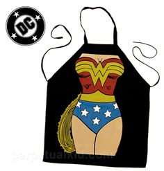 WONDER WOMAN APRON    Become a Wonder Woman with your cooking! Toss on our DC Comics Wonder Woman Apron and show everyone what a woman and a magic lasso can do with food! Okay, maybe the magic lasso was a bit too much… mostly because we're thinking you wouldn't need it anyway! Bake up some fresh bullet-proof wristbands for the family!    Invisible jet not included.