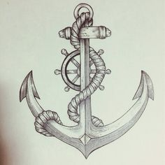 Anchor & helm drawing art