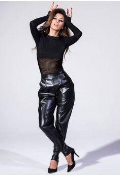 Long Sleeve Bodysuit With Fishnet Contrast In Black Black $36.00