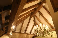 Houses and Extensions - Oak framed ceiling. Exposed beam ceiling adding warmth to your room. Ceiling Beams, Ceiling Lights, Vaulted Ceilings, Roof Truss Design, Oak Frame House, British Architecture, Chandelier Lighting, Chandeliers, Roof Trusses