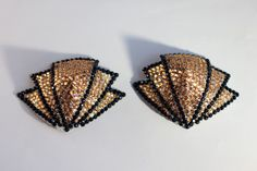Rhinestone burlesque pasties gold/black Art Deco fans MADE TO ORDER
