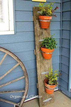 Hometalk :: 1st Junk Garden Project of 2014: Reclaimed Wood Flower Pot Holder