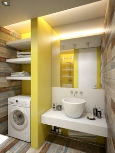 Here we have a good solution to find Amazing wedding Home Design, you may check this article (Small Apartment Decorating Ideas With Yellow Shades) right away. Appartement Design Studio, Studio Apartment Design, Apartment Layout, Laundry In Bathroom, Small Bathroom, Bathroom Ideas, Laundry Area, Mirror Bathroom, Bathroom Plants