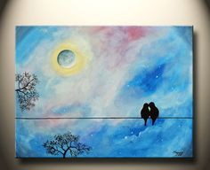 love birds kissing in starry night- 24x18inch original painting on stretched canvas, ready to hang,great wedding gift on Etsy, $89.00