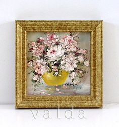 Painted Flowers 2. Image size 4x4 gift item by valdasfineart