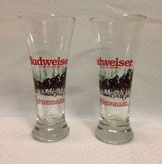 aaee45df5abb8b Vintage Budweiser Clydesdales Holiday Winter Glass Beer Pilsner Set of 2  1989