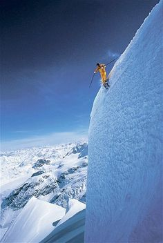 An extreme skier approaches a steep drop in Grand Targhee, Wyo.
