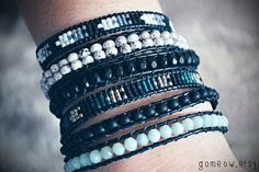 Black and White and Lilac // Leather Wrap Bracelet // by Gomeow, $32.50