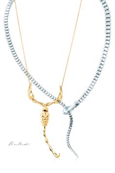 """I love love this Scorpio necklace from tiff I love nature, but I try to change it a little bit, not copy it."""" —Elsa Peretti Elsa Peretti® Scorpion necklace in gold and Snake necklace in sterling silver. Tiffany And Co, Tiffany Blue, Snake Necklace, Scorpio Necklace, Tiffany Necklace, Tiffany Bracelets, Elsa Peretti, Silver Jewelry, Fine Jewelry"""