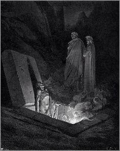 Gustave Dore - Inferno 이단자의 지옥에서 단테가 불타는 관에서 고통받는 피렌체 사람과 이야기를 나누고 있다. Gustave Dore의 그림은 언제나 정교한, 신곡의 표현에 충실한 묘사를 하고 있다.