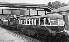 Diesel Railcar at Monmouth Troy Station. Tunnel mouth in the distance is the Monmouth, Usk and Pontypool Railway.