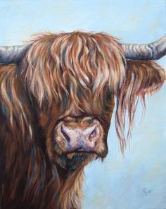 Acrylic painting of a hairy highland cattle, in need of a good hair cut On deep boxed canvas and painted around the edges.