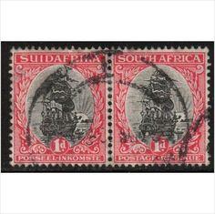 South Africa Scott 34 - SG43/d, 1930 1d Bi-lingual Pair, Perf 15x14 used stamps sur le France de eBid