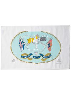 Corgi Values Tea Towel - White, Multi, Yellow, Blue, Novelty Print