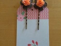 Peach Rose on Antique Bronze Flower Bobbypins Peach Rose, Bronze, Antiques, Flowers, Antiquities, Antique, Royal Icing Flowers, Flower, Old Stuff