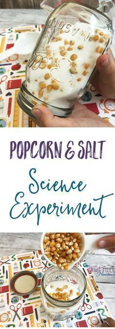What happens to the popcorn and salt in this easy science experiment? This is so fun, and easy to do at home! Science can be fun, and frugal! via # Parenting activities Easy Popcorn & Salt Science Experiment With Directions Science Projects For Kids, Easy Science Experiments, Science Activities For Kids, Preschool Science, Science Classroom, Science Lessons, Science For Kids, Science Fun, Science Ideas