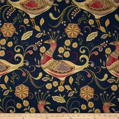 Richloom Fantasy Twill Navy from @fabricdotcom  Screen printed on cotton twill; this lightweight fabric is very versatile and perfect for window treatments (draperies, valances, curtains, and swags), bed skirts, duvet covers, pillow shams, accent pillows, tote bags, aprons and light upholstery. Colors include lavender, golden yellow, ivory, kiwi, red and navy with metallic gold accents throughout the design.