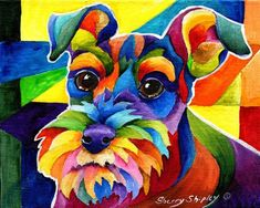 Schnauzer Painting by Sherry Shipley Arte Pop, Schnauzer Art, Animal Paintings, Dog Art, Pet Portraits, Animal Photography, Art Drawings, Art Projects, Artsy