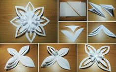 DIY 3D Paper Snowflake Flower | GoodHomeDIY.com Follow Us on Facebook --> https://www.facebook.com/pages/Good-Home-DIY/438658622943462?ref=hl