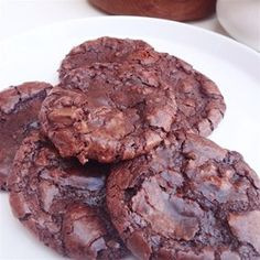 Flourless Fudge Cookies | Crispy on the outside and chewy chocolate on the inside.