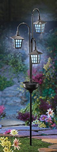 3 Solar Outdoor Iron Lamp Posts With Garden Stake Collections Etc  Http://smile