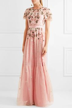 Pastel-pink tulle and lace Concealed zip fastening along back  100% nylon; trim: 97% cotton, 3% nylon; lining: 100% polyester Dry clean
