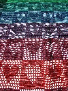 I love this!! - Rainbow Hearts Filet Crochet Afghan / Curtain by babukatorium, via Flickr