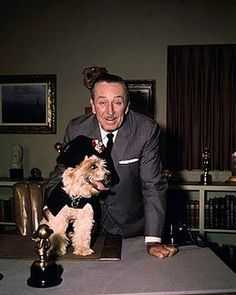 "Walt Disney with his ""Pirates"" dog"